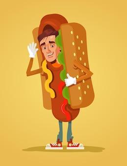 Szczęśliwy uśmiechnięty mężczyzna promotor maskotka postać ubrana w garnitur hot doga