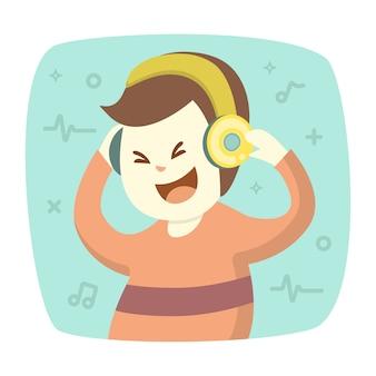 Szczęśliwy uśmiechnięty młody człowiek słucha muzyki