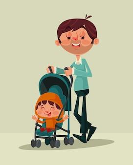 Szczęśliwy uśmiechnięty ojciec maskotka charakter spaceru ze swoim małym dzieckiem. ilustracja kreskówka płaski wektor