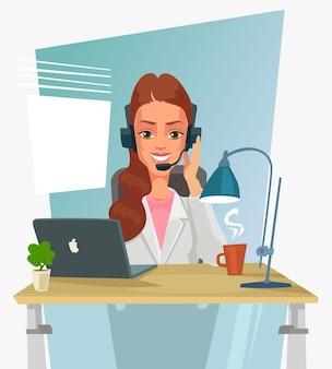 Szczęśliwy uśmiechnięty operator call center kobieta postać rozmawia telefon i udziela konsultacji koncepcja wsparcia online gorącej linii na białym tle projekt graficzny