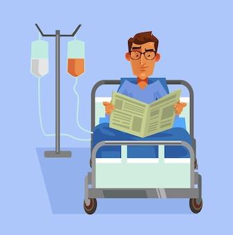 Szczęśliwy uśmiechnięty pacjent r. w łóżku i czytanie gazety płaska ilustracja kreskówka