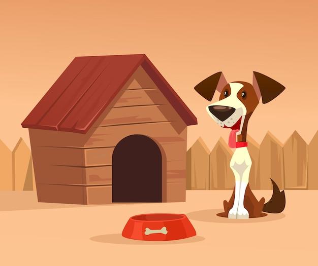 Szczęśliwy uśmiechnięty pies postać strzeże domu