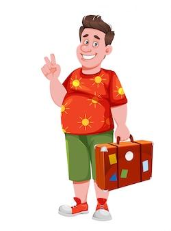 Szczęśliwy, uśmiechnięty podróżnik. wesoły turysta