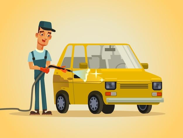Szczęśliwy uśmiechnięty pracownik serwisant myjnia człowiek charakter mycie samochodu samochodowego z węża pianka spray wodny auto service station ilustracja koncepcja myjni samochodowej
