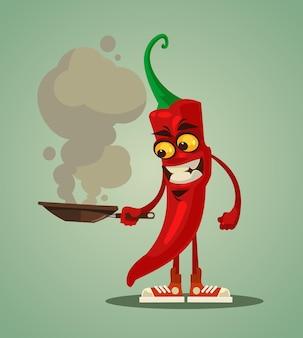 Szczęśliwy uśmiechnięty smażenie papryczki chili