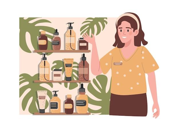 Szczęśliwy uśmiechnięty sprzedawca reklamujący nową kolekcję świeżych kosmetyków organicznych