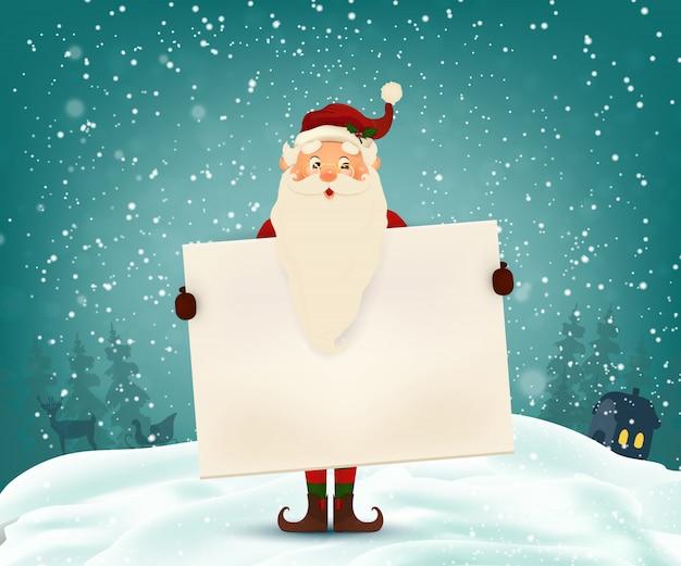 Szczęśliwy uśmiechnięty święty mikołaj z szyldem, banerem reklamowym. kreskówka ładny święty mikołaj z białą przestrzenią, padający śnieg.