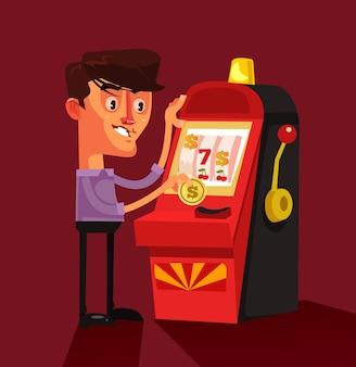 Szczęśliwy uśmiechnięty udany szczęśliwy człowiek postać grająca na automacie kasyno gra ruletka zwycięzca koncepcja szczęścia na białym tle