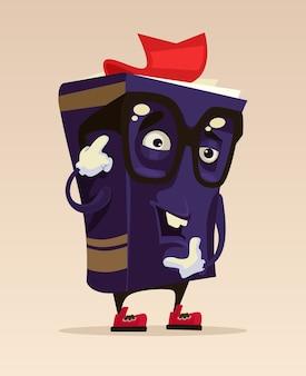 Szczęśliwy uśmiechnięty zabawny rysunek maskotka postać inteligentnej książki