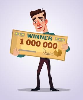 Szczęśliwy uśmiechnięty zwycięzca mężczyzna postać trzyma złoty czek płaska ilustracja kreskówka