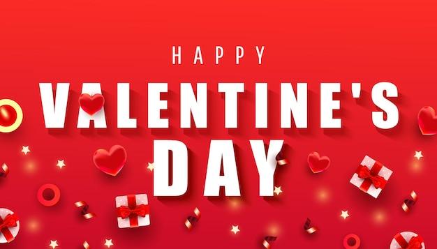 Szczęśliwy valentine day poziomej kompozycji.