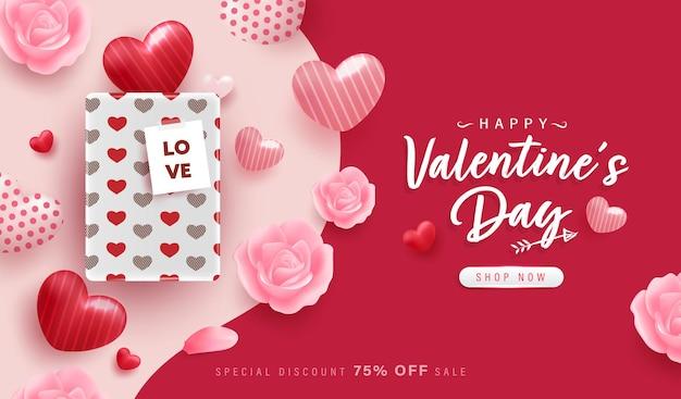 Szczęśliwy valentine day tło lub baner z pięknymi elementami.