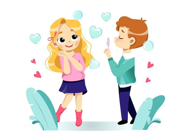 Szczęśliwy valentine s day greeting card concept. zakochana para flirtuje, uśmiecha się i dmuchanie baniek mydlanych. styl płaski