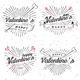 Szczęśliwy valentine s day vintage ilustracji wektorowych. zestaw znaków z promieniami słońca i strzałkami. znaczki etykiety z promieniami słonecznymi. pękający kształt serca.