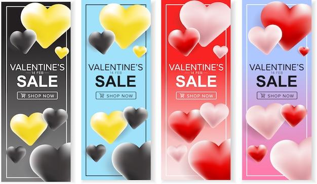 Szczęśliwy valentine's sprzedaż sztandar ustawiający z 3d kolorowym sercem