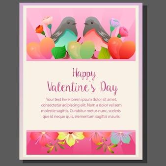 Szczęśliwy valentines dzień z kolorowym para ptakiem