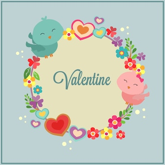 Szczęśliwy valentines dzień z ptasią pary dekoracją