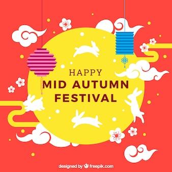 Szczęśliwy w połowie jesieni tle festiwalu