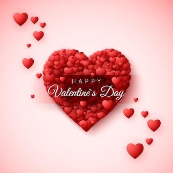 Szczęśliwy walentynki kartkę z życzeniami. ramka serca składa się z wielu serc i etykiety z życzeniami szczęśliwego walentynki. romantyczny wzór na wakacje 14 lutego. ilustracja