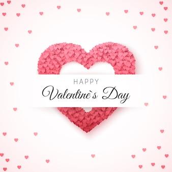 Szczęśliwy walentynki kartkę z życzeniami. szablon karty z pozdrowieniami. ramka w kształcie serca wypełniona sercami z miejscem na napis. ilustracja