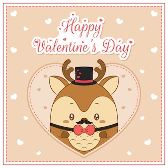 Szczęśliwy walentynki ładny chłopiec jelenia rysunek pocztówka wielkie serce