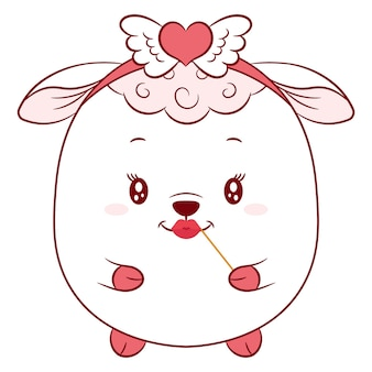 Szczęśliwy walentynki ładny rysunek owiec