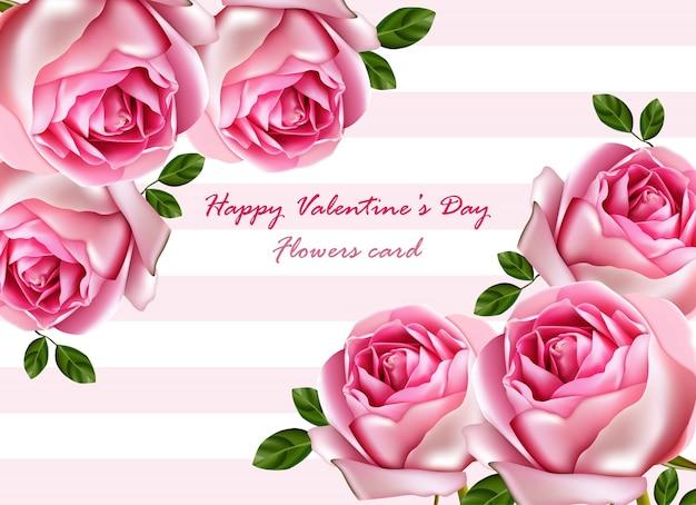 Szczęśliwy walentynki, piękne róże karty