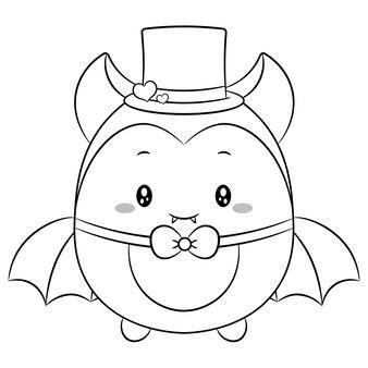 Szczęśliwy walentynki słodkie dziecko nietoperz rysunek szkic do kolorowania