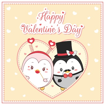 Szczęśliwy walentynki słodkie pingwiny rysunek pocztówka wielkie serce