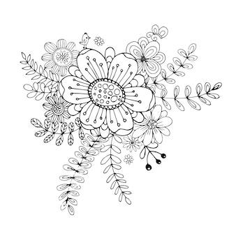 Szczęśliwy walentynki z kwiat doodle bukiet kolorowanka wektor stylu.