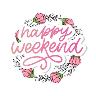 Szczęśliwy weekend ręcznie napis. idealny element do kart okolicznościowych, plakatów i zaproszeń do drukowania. hasło dobrego projektu nadruku