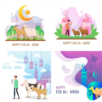 Szczęśliwy wektor eid al adha