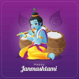 Szczęśliwy wektor janmashtami z życzeniami z lordem krishną grającym na flecie przed garnkami