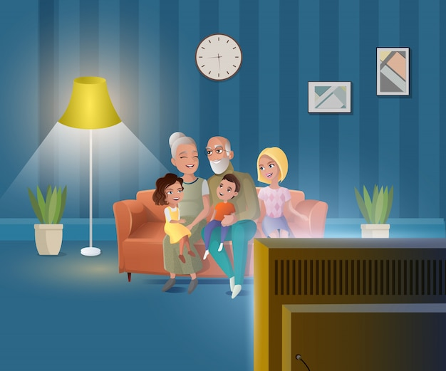 Szczęśliwy wektor kreskówka ludzie starości