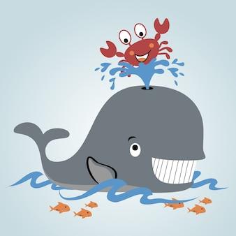 Szczęśliwy wektor kreskówka życie morskie