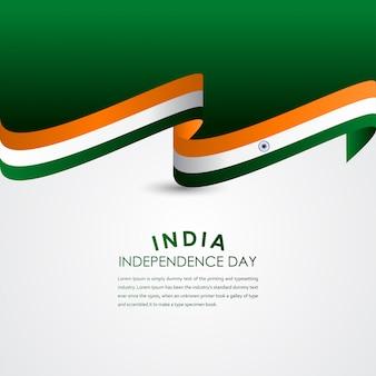 Szczęśliwy wektor obchody dnia niepodległości indii szablon projektu ilustracji