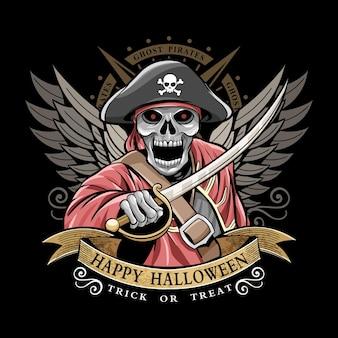 Szczęśliwy wektor projektu piratów halloween