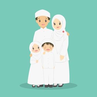 Szczęśliwy wektor rodziny muzułmańskiej