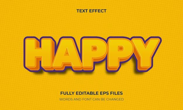 Szczęśliwy wektor stylu tekstu 3d