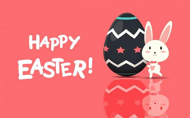 Szczęśliwy wielkanocny kartka z pozdrowieniami z easter jajkami i królikiem.