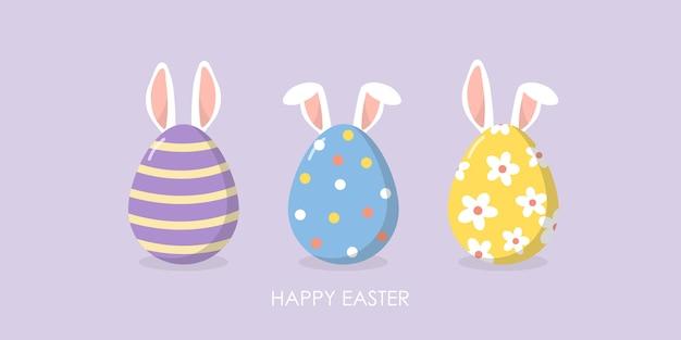 Szczęśliwy wielkanocny kartka z pozdrowieniami z ślicznymi ucho królik i jajka.