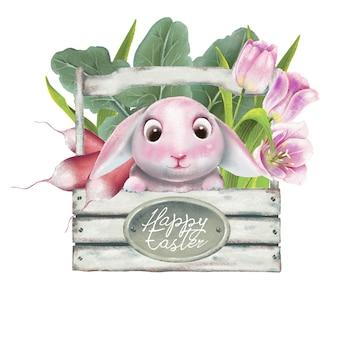 Szczęśliwy wielkanocny koszyk z kwiatami, warzywami i kwiatami