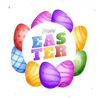 Szczęśliwy wielkanocny pojęcie z kolorowym tekstem i jajkami.