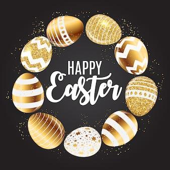 Szczęśliwy wielkanocny śliczny kartka z pozdrowieniami z jajkami.