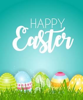 Szczęśliwy wielkanocny śliczny kartka z pozdrowieniami z jajkami