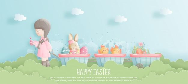 Szczęśliwy wielkanocny sztandar z śliczną dziewczyną, królikiem i wielkanocnymi jajkami w papieru cięcia stylu ilustraci.