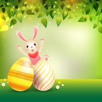Szczęśliwy wielkanocny tło z ilustracją śliczny królik