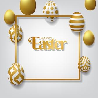 Szczęśliwy Wielkanocny Tło Z Realistycznymi Złotymi Dekorującymi Jajkami Premium Wektorów