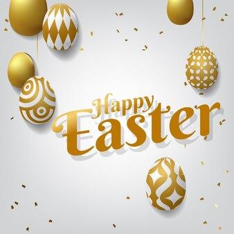 Szczęśliwy wielkanocny tło z realistycznymi złotymi dekorującymi jajkami