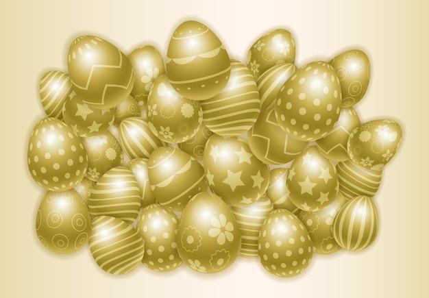 Szczęśliwy wielkanocny tło z udziałami dekorujący złoci jajka.